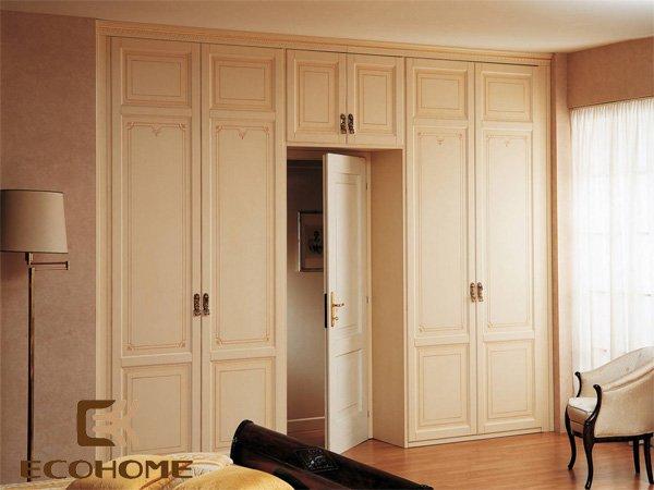 Tủ quần áo gỗ kiểu màu trắng