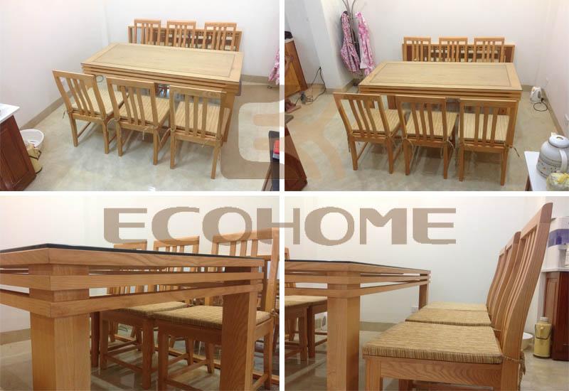 mẫu bàn ghế ăn gỗ sồi