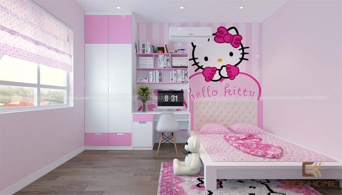 mẫu phòng ngủ cho bé gái 12 tuổi