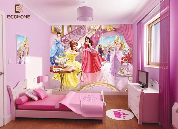 phòng ngủ màu hồng cho bé gái 1