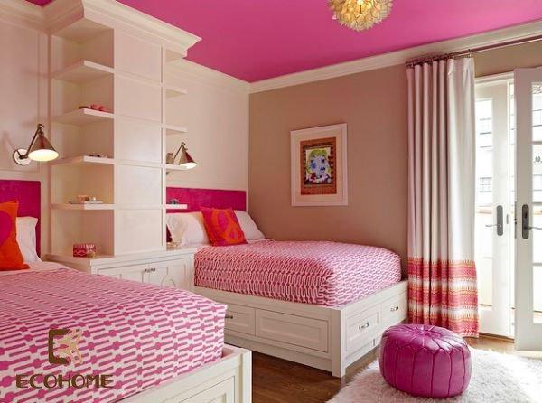 phòng ngủ màu hồng cho bé gái (21)