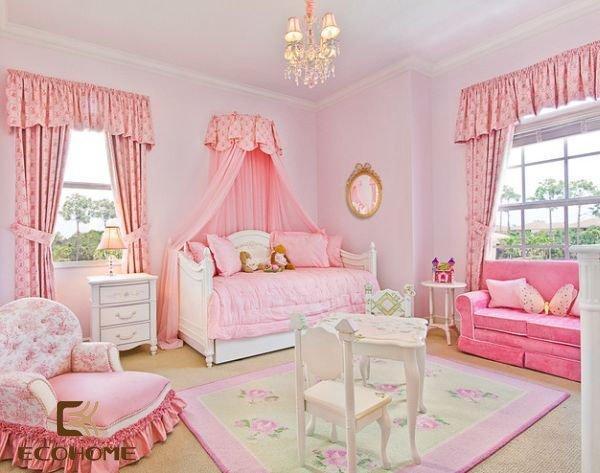 phòng ngủ màu hồng cho bé gái (5)