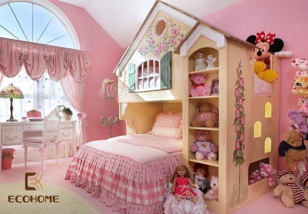 phòng ngủ màu hồng cho bé gái (6)
