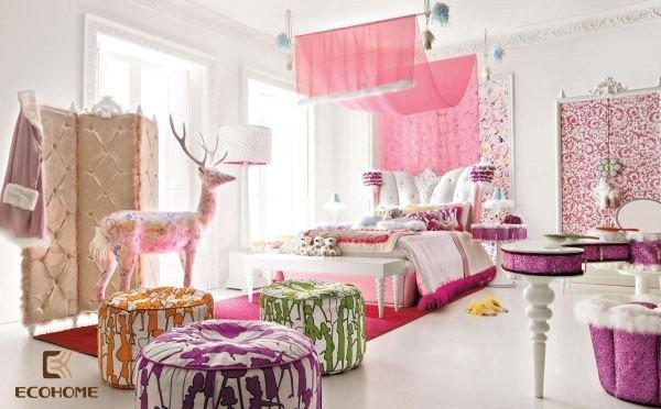 phòng ngủ màu hồng cho bé gái (7)