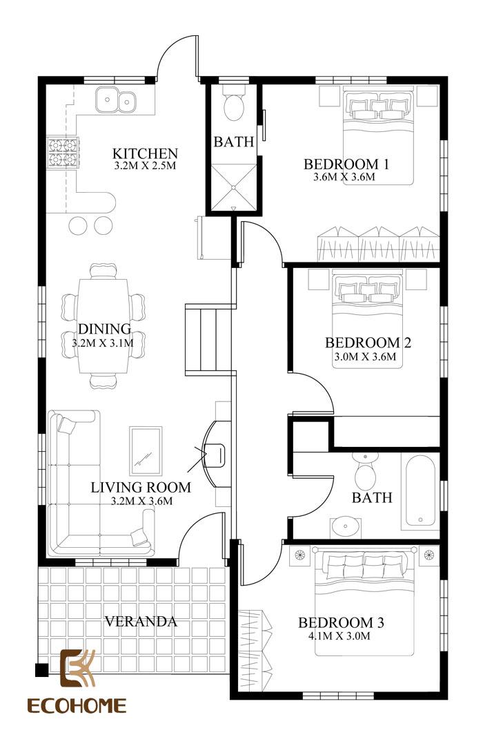 9 mẫu nhà cấp 4 có 3 phòng ngủ (10)