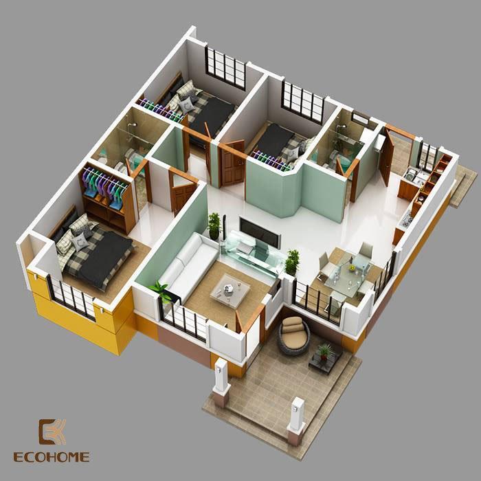 9 mẫu nhà cấp 4 có 3 phòng ngủ (18)