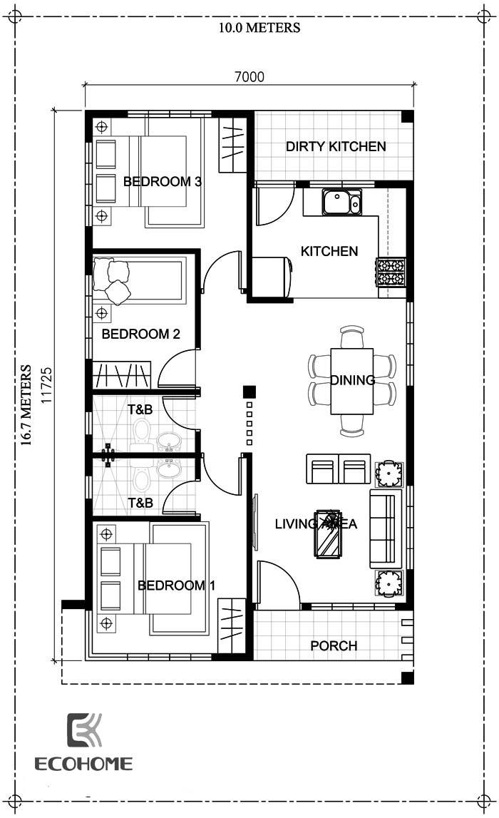 9 mẫu nhà cấp 4 có 3 phòng ngủ (4)