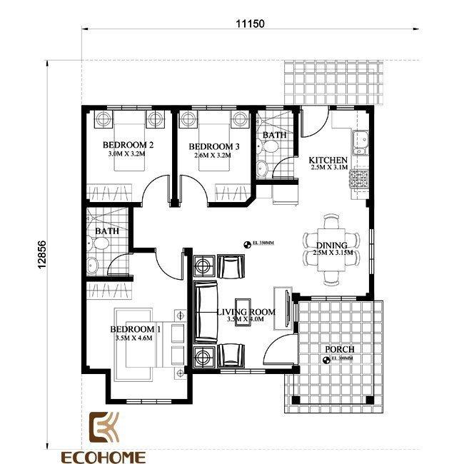 9 mẫu nhà cấp 4 có 3 phòng ngủ (8)