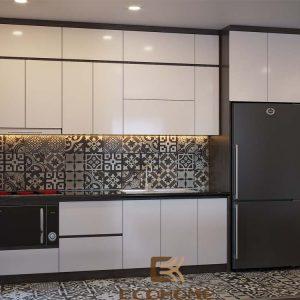 mẫu tủ bếp arcylic chữ I ECO35