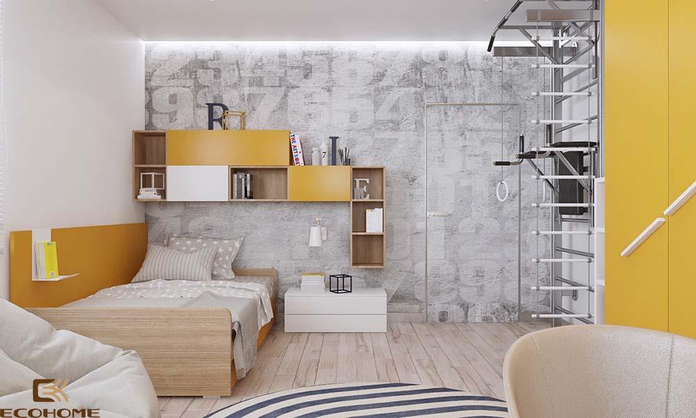 thiết kế phòng ngủ trẻ em với sắc vàng 9