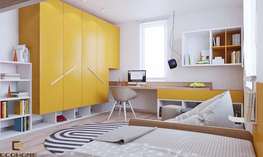 thiết kế phòng ngủ trẻ em với sắc vàng 10