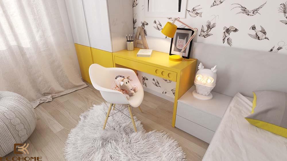 thiết kế phòng ngủ trẻ em với sắc vàng 11