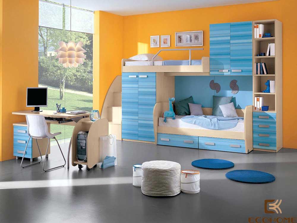 thiết kế phòng ngủ trẻ em với sắc vàng 4