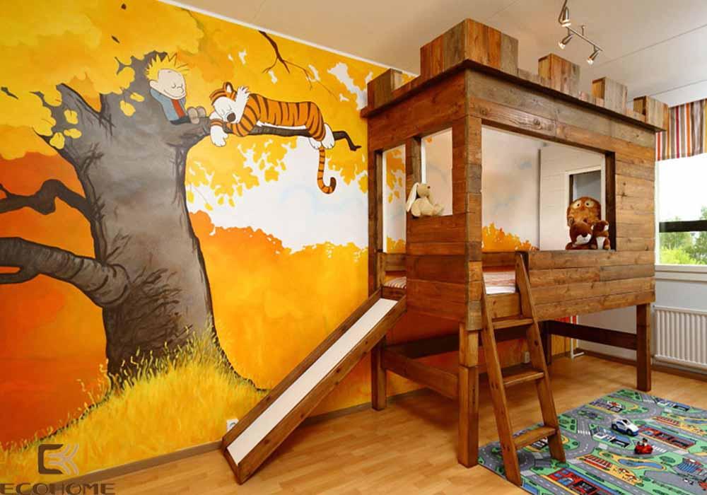thiết kế phòng ngủ trẻ em với sắc vàng 5