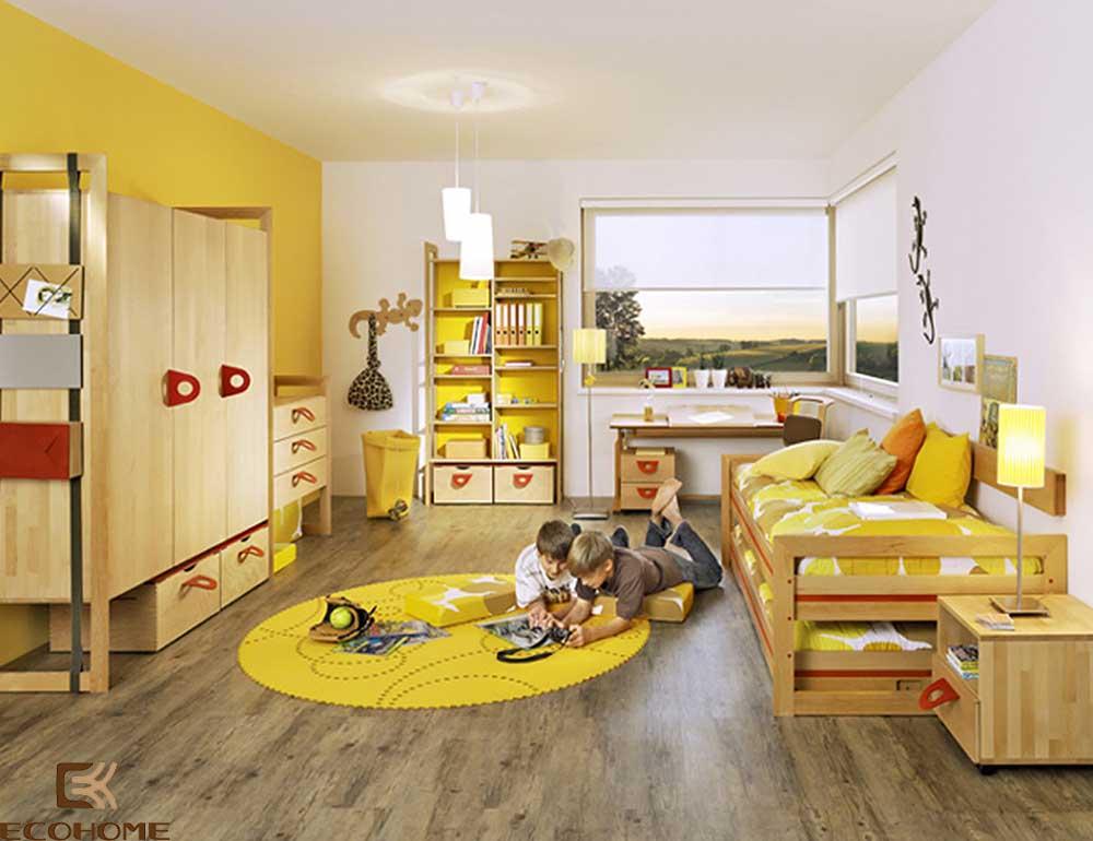 thiết kế phòng ngủ trẻ em với sắc vàng 7