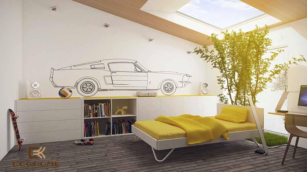 thiết kế phòng ngủ trẻ em với sắc vàng 1