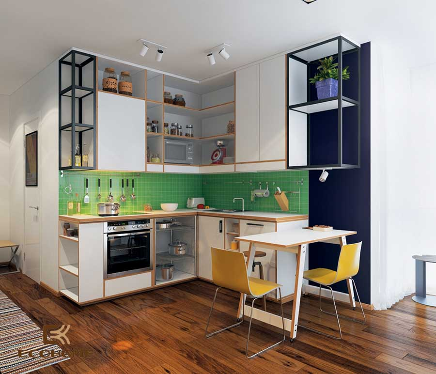 thiết kế tủ bếp chữ L 32
