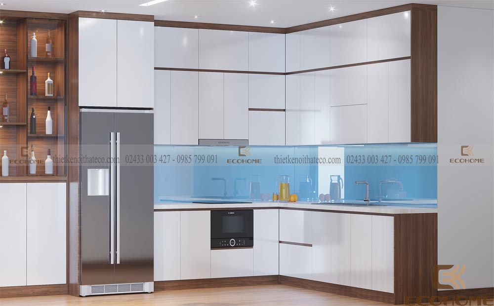 tủ bếp gỗ công nghiệp cánh acrylic ECO38