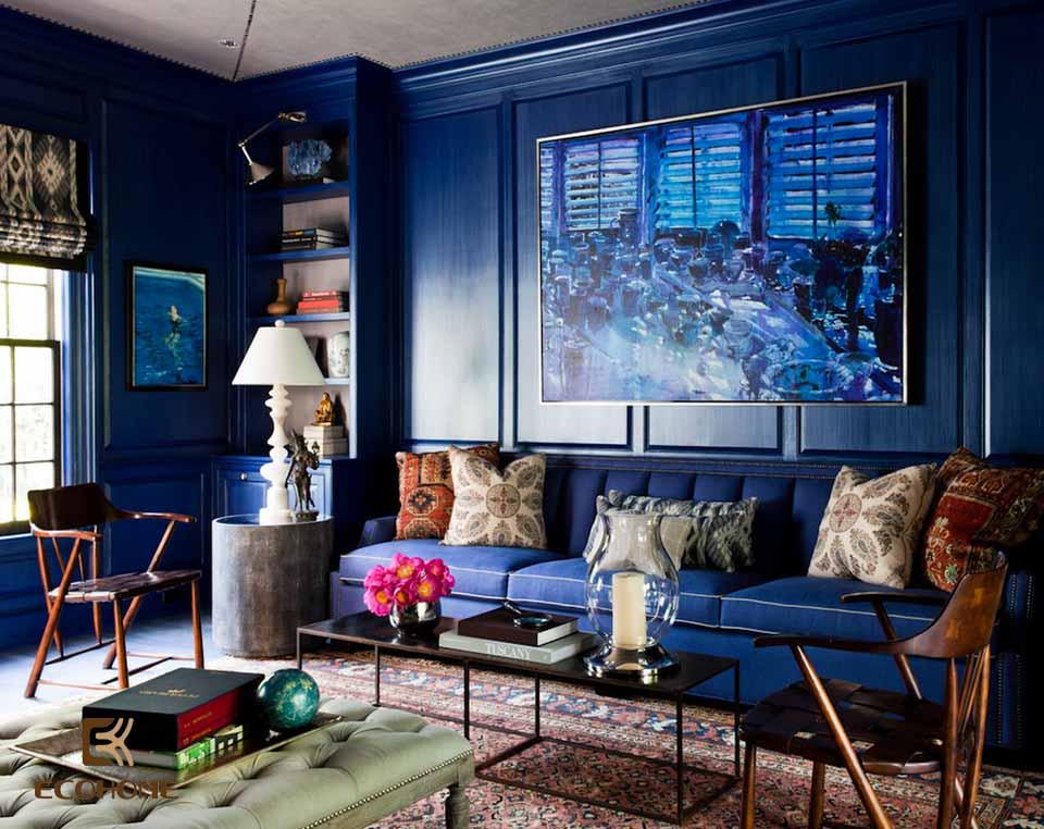 phòng khách màu xanh dương 1