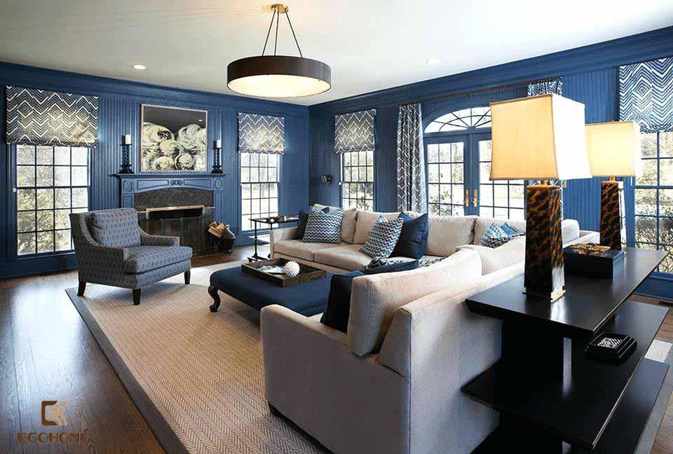 phòng khách màu xanh dương 10