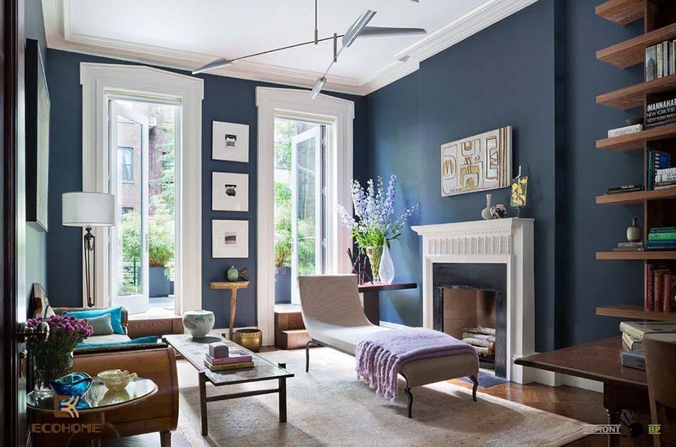 phòng khách màu xanh dương 11