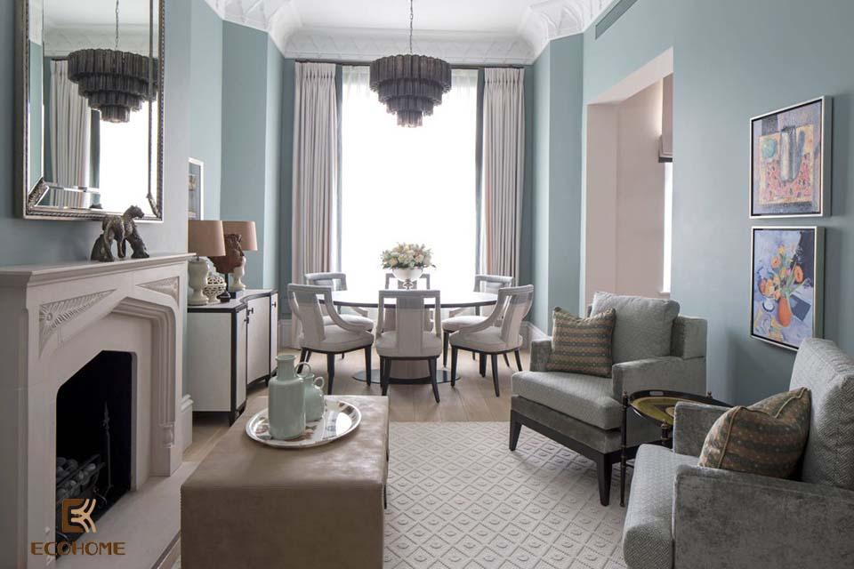 phòng khách màu xanh dương 16