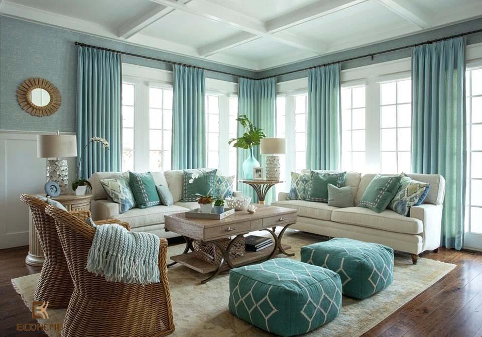 phòng khách màu xanh dương 18