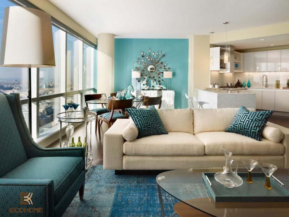 phòng khách màu xanh dương 19