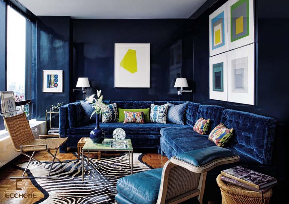 phòng khách màu xanh dương 21