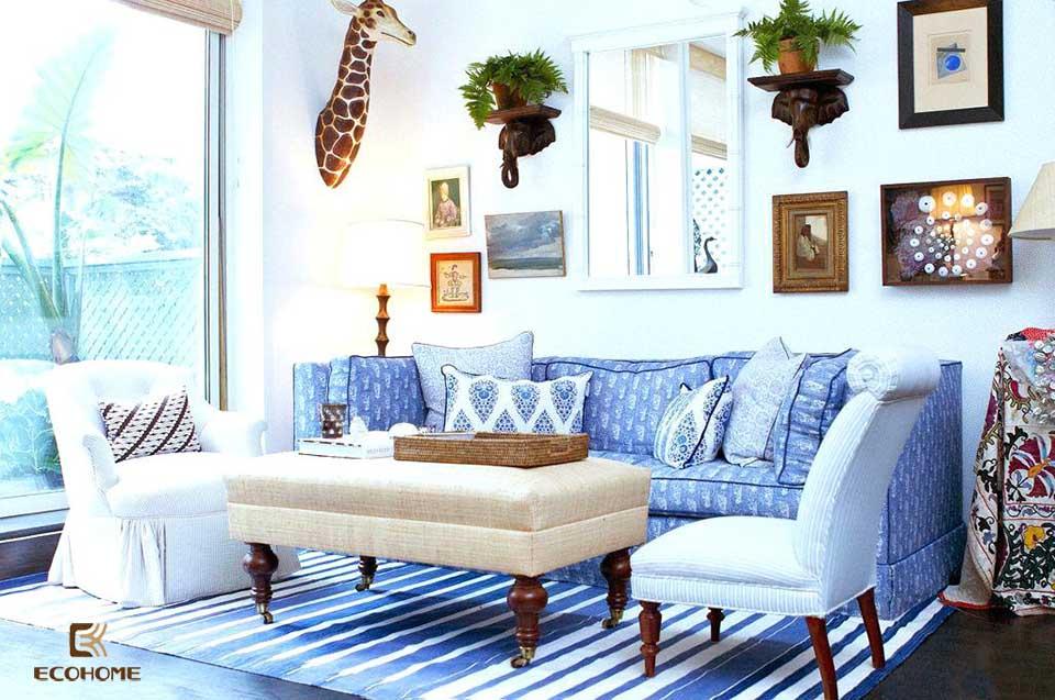 phòng khách màu xanh dương 22