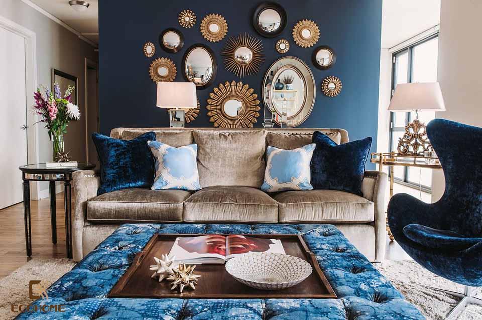 phòng khách màu xanh dương 23