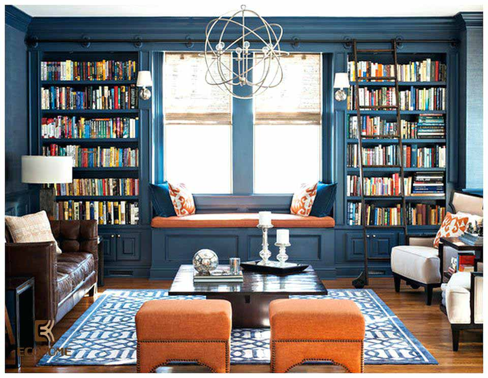 phòng khách màu xanh dương 3