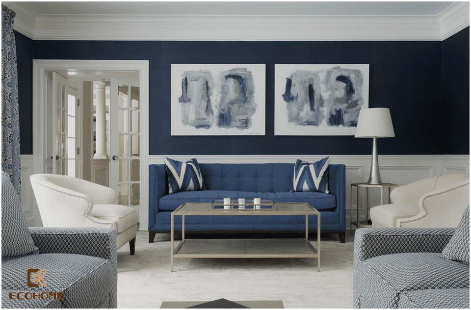 phòng khách màu xanh dương 4