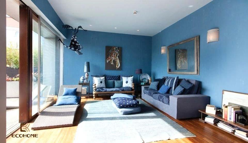 phòng khách màu xanh dương 5