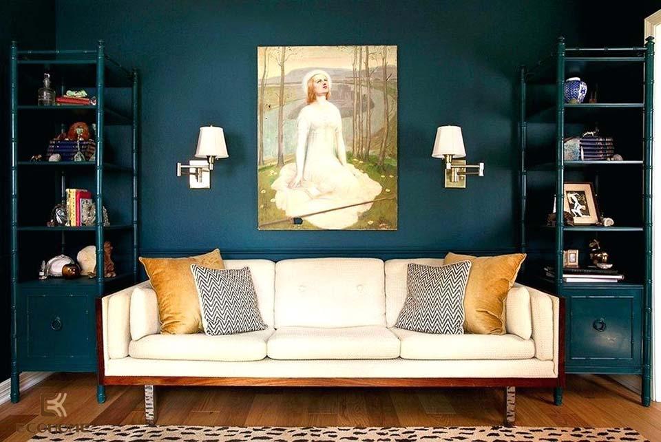 phòng khách màu xanh dương 8
