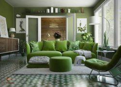 phòng khách màu xanh lá cây 14
